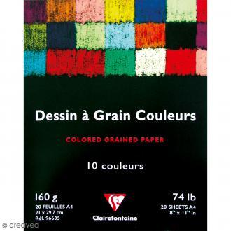 Bloc papier dessin à grain A4 - 160 gr - 20 feuilles de couleur