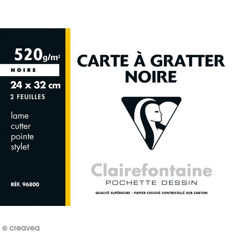 Carte à gratter Noire 24 x 32 cm - 520 gr - 2 feuilles - Photo n°1