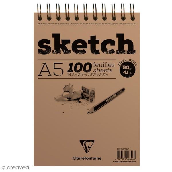 Bloc à dessin sketch et croquis A5 - 90 gr - 100 feuilles - Photo n°1