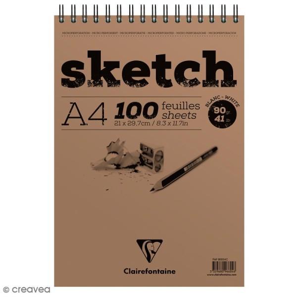 Bloc à dessin sketch et croquis A4 - 90 gr - 100 feuilles - Photo n°1