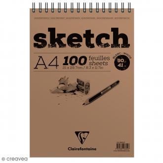 Bloc à dessin sketch et croquis A4 - 90 gr - 100 feuilles
