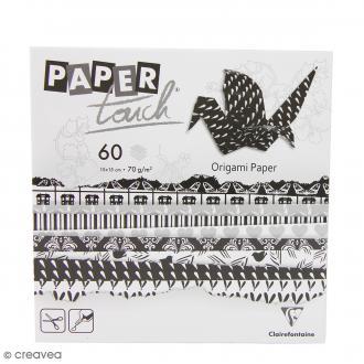 Papier origami Paper Touch - 15 x 15 cm - Black & white - 60 feuilles