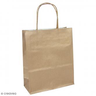 Sac en papier 22 x 28,5 x 10 cm - Kraft brun - 25 pcs