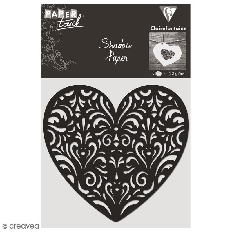Découpe en papier Shadow paper - Coeur noir - 8 formes - Photo n°1