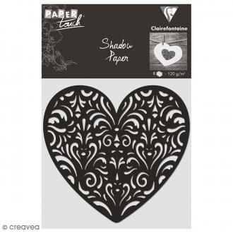 Découpe en papier Shadow paper - Coeur noir - 8 formes