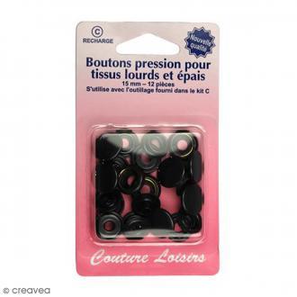 Bouton pression Noir 15 mm - 12 pcs - Pour tissus lourds et épais