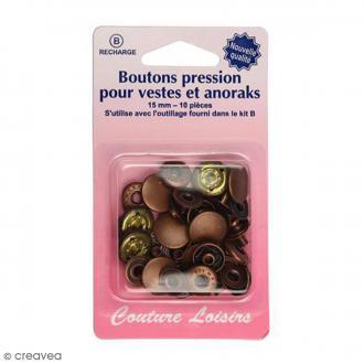 Bouton pression Bronze 15 mm - 10 pcs - Pour vestes et anoraks