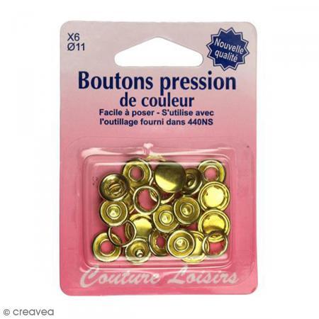 Bouton pression Doré 11 mm - 6 pcs - Photo n°1