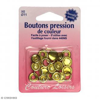 Bouton pression Doré 11 mm - 6 pcs