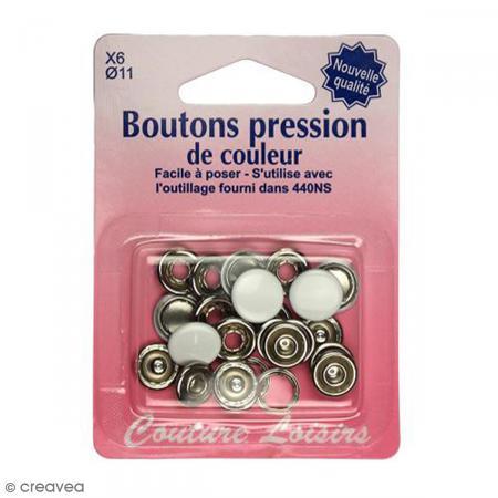 bouton pression blanc 11 mm 6 pcs boutons pression creavea. Black Bedroom Furniture Sets. Home Design Ideas