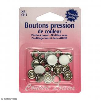 Bouton pression Blanc 11 mm - 6 pcs