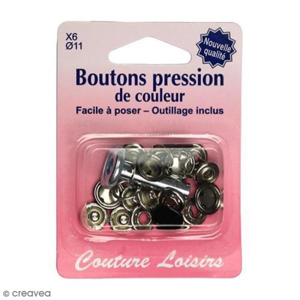 Kit bouton pression Noir 11 mm avec outil de pose - 6 pcs - Photo n°1