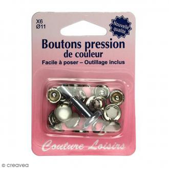 Kit bouton pression Blanc perle 11 mm avec outil de pose - 6 pcs