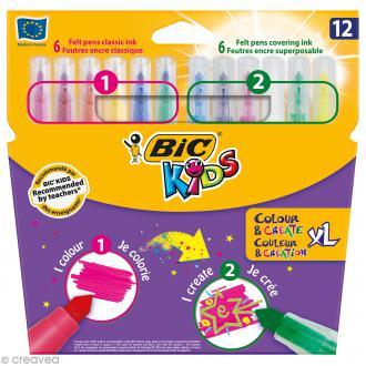 Feutres Couleur & Création XL - Bic Kids - 12 feutres