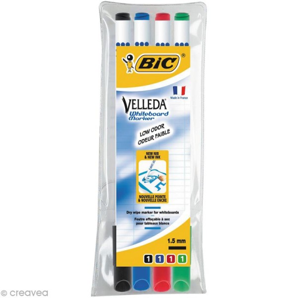 Feutres Velleda effaçables Bic - Fin 2,8 mm - 4 pcs - Photo n°1