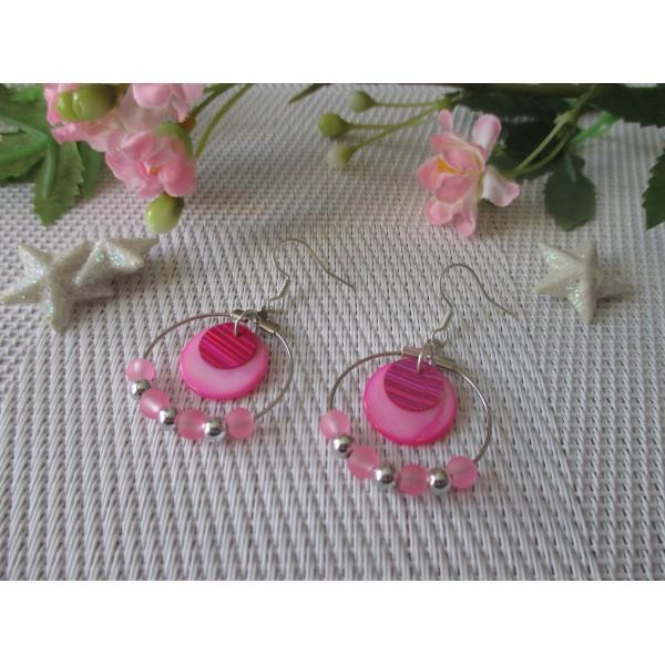 kit boucles d 39 oreilles cr oles argent es et perles en verre rose kit boucles d 39 oreilles creavea. Black Bedroom Furniture Sets. Home Design Ideas