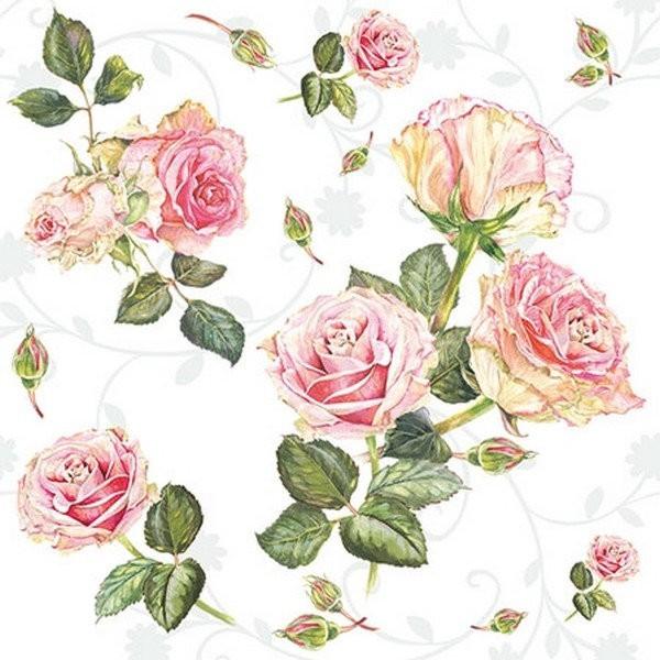 Lot de 4 Serviettes en papier Shabby Roses pour Decoupage Collage Decopatch
