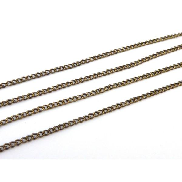 R-1,80m De Chaînette Maillon Forçat 3,2 X 2,3mm En Métal Bronze - Photo n°2