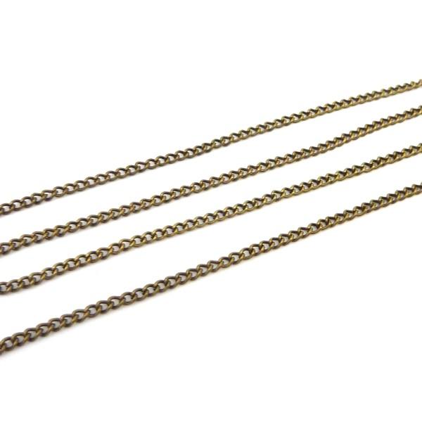 R-1,80m De Chaînette Maillon Forçat 3,2 X 2,3mm En Métal Bronze - Photo n°3
