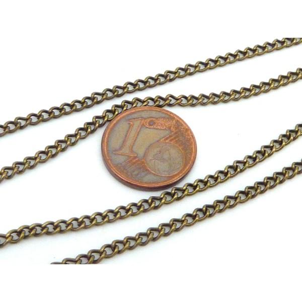 R-1,80m De Chaînette Maillon Forçat 3,2 X 2,3mm En Métal Bronze - Photo n°4