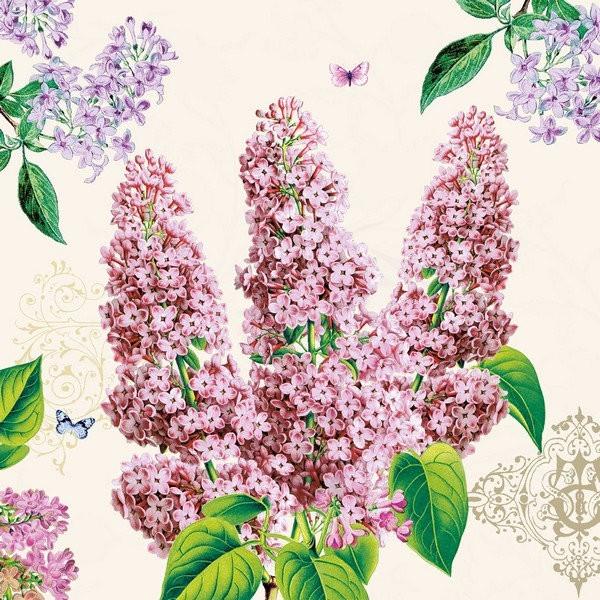 4 Serviettes En Papier Decoupage Collage 33 Cm Fleur Lilas F 1011