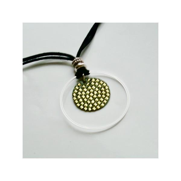 Kit collier pendentif cristal rock vert kaki - Photo n°4