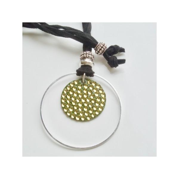 Kit collier pendentif cristal rock vert kaki - Photo n°1