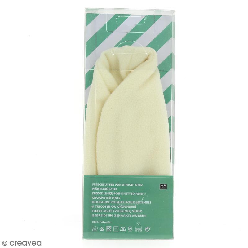 Doublure polaire pour bonnet en tricot , Crème , 50,54 cm , Photo n