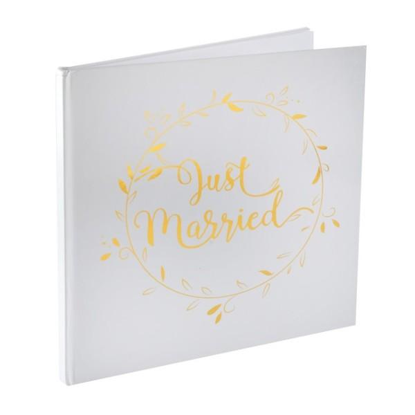 Livre d'or Just Married blanc et or métallisé - Photo n°1