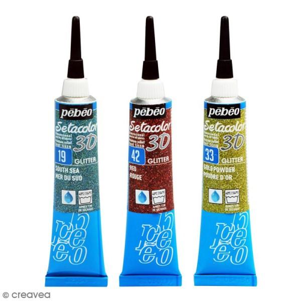 Peinture tissu Setacolor 3D - Glitter - 20 ml - Photo n°1