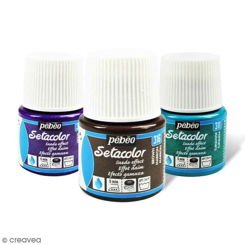 peinture tissu setacolor p b o effet daim opaque 45 ml. Black Bedroom Furniture Sets. Home Design Ideas