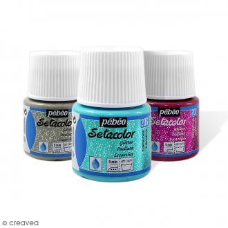 Peinture tissu Setacolor Pébéo - Tissus clairs Pailletée  - 45 ml