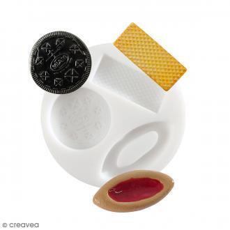 Mini moule silicone souple DTM - Biscuits et gaufrette - 3 formes