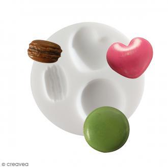 Mini moule silicone souple DTM - Macarons - 3 formes