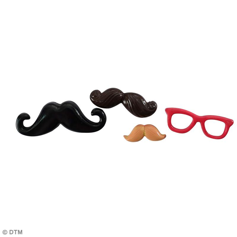 Mini moule silicone souple DTM - Moustaches - 4 formes - Photo n°2