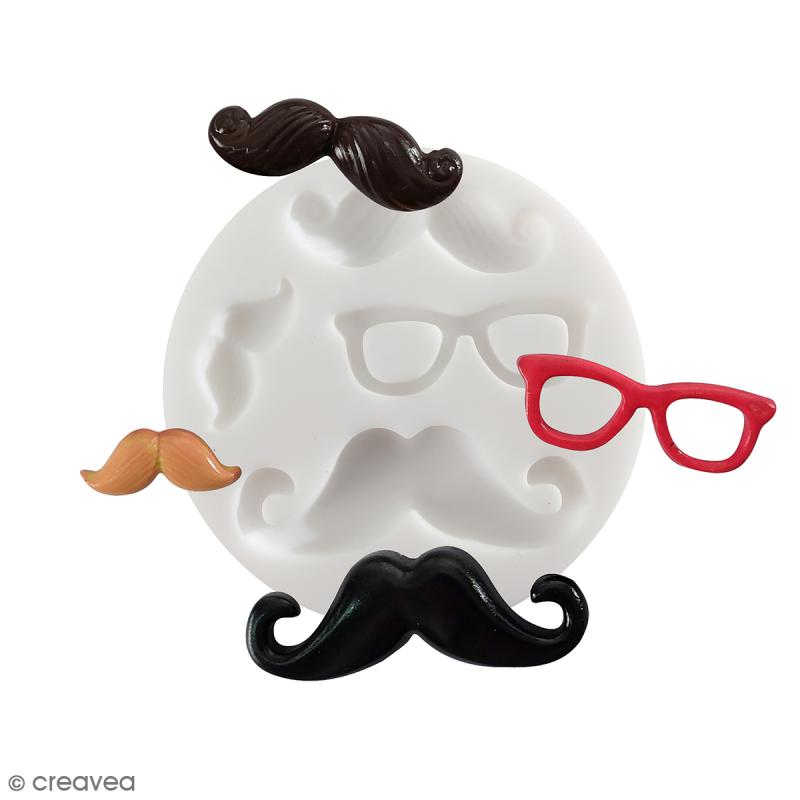 Mini moule silicone souple DTM - Moustaches - 4 formes - Photo n°1