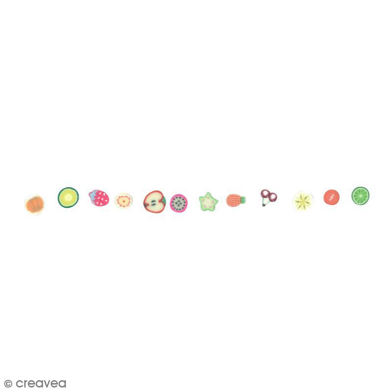 Tranches mini canes Fimo - Fruits exotiques - 12 modèles (120 pcs) - Photo n°2