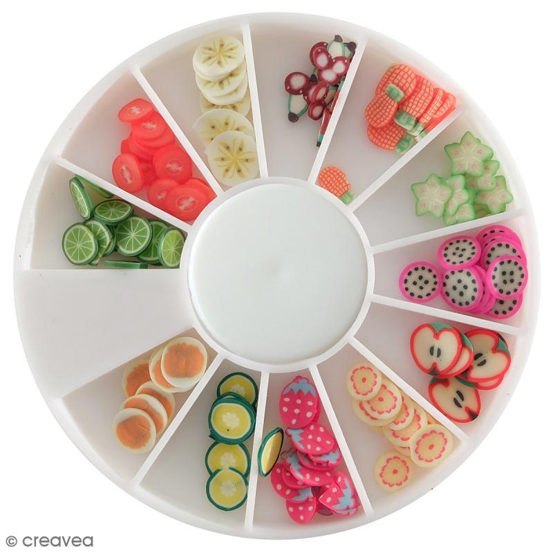 Tranches mini canes Fimo - Fruits exotiques - 12 modèles (120 pcs) - Photo n°1