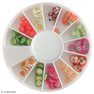 Tranches mini canes Fimo - Fruits exotiques - 12 modèles (120 pcs)