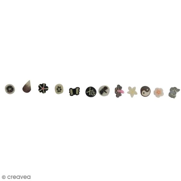 Tranches mini canes Fimo - Noir et blanc - 12 modèles (120 pcs) - Photo n°2