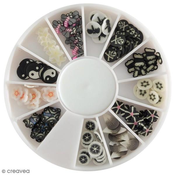 Tranches mini canes Fimo - Noir et blanc - 12 modèles (120 pcs) - Photo n°1