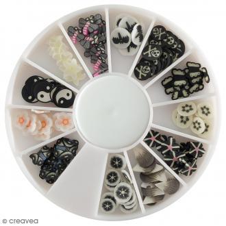 Tranches mini canes Fimo - Noir et blanc - 12 modèles (120 pcs)