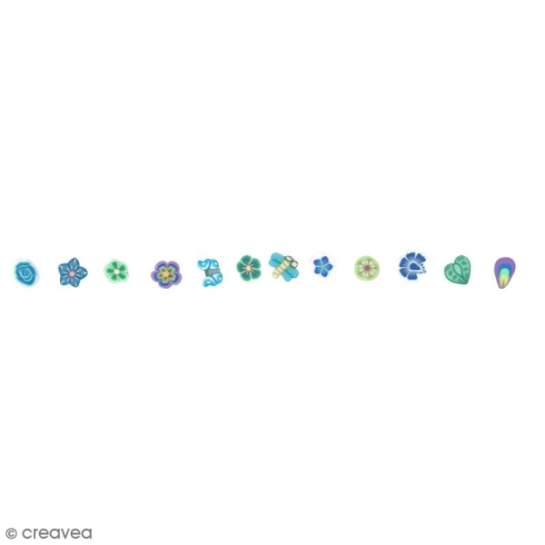 Tranches mini canes Fimo - Harmonie - 12 modèles (120 pcs) - Photo n°2