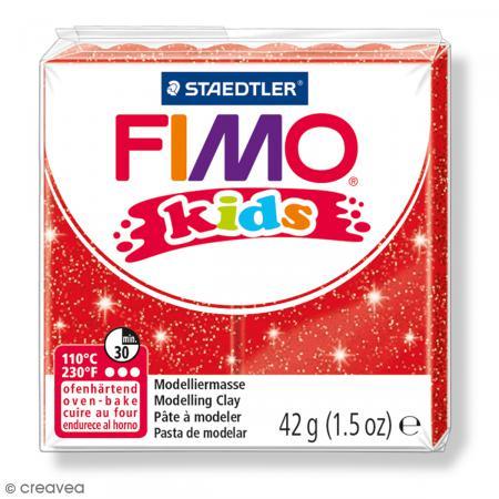 Fimo Kids Rouge pailleté 212 - 42 g - Photo n°1