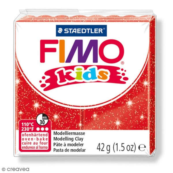 Pâte Fimo Kids Rouge pailleté 212 - 42 g - Photo n°1