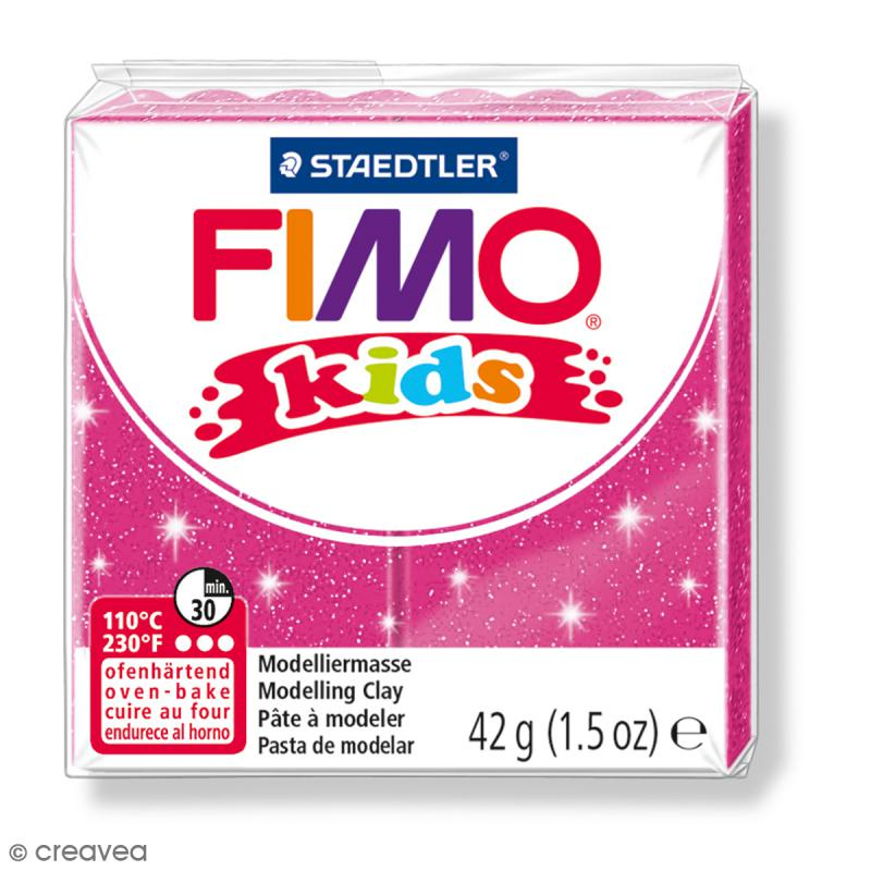 Pâte Fimo Kids Rose pailleté 262 - 42 g - Photo n°1