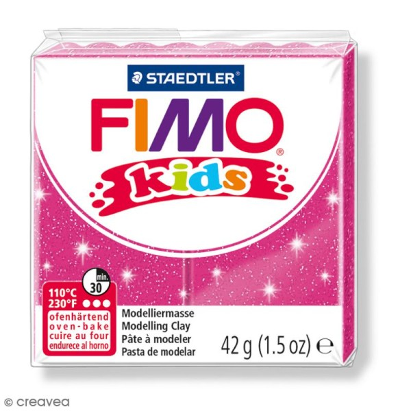 Pâte Fimo Kids Rose pailleté 262 - 42 g - Photo n°1