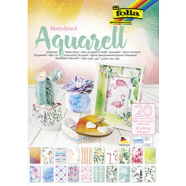 Bloc de papier à motifs Aquarelle 240 x 340 mm - Photo n°1