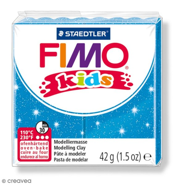 Pâte Fimo Kids Bleu pailleté 312 - 42 g - Photo n°1