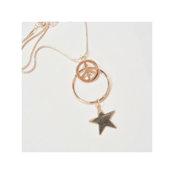Kit tour de cou peace étoile or rose - Photo n°2